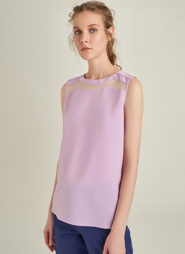 NGSTYLE Organze Detaylı Bluz Lila